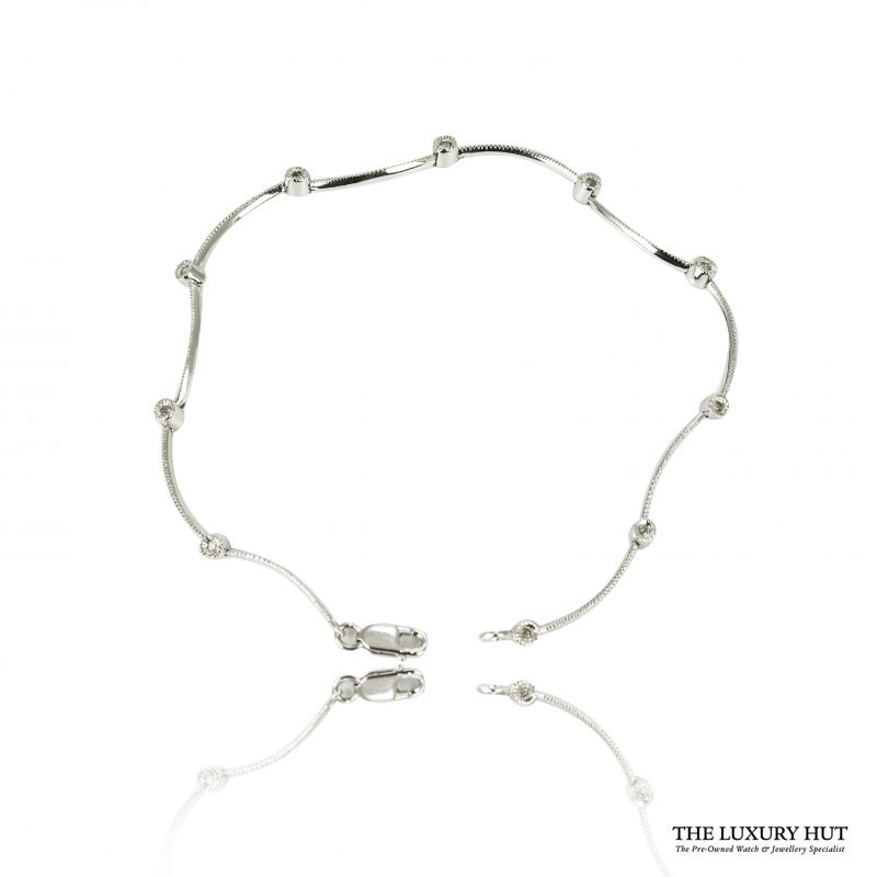 Shop 9ct White Gold & 0.04ct Certified Diamond Bracelet – Order Online Today For Next Day