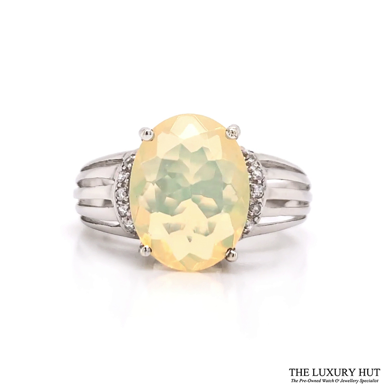 Shop 9ct White Gold Opal & cz Dress Ring - Order Online Today For Next Day Delivery