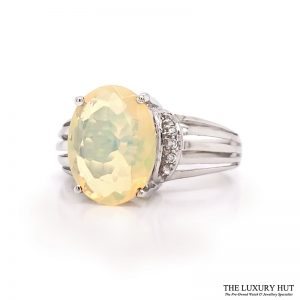 Shop 9ct White Gold Opal & cz Dress Ring - Order Online Today For Next Day