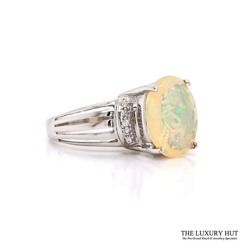 Shop 9ct White Gold Opal & cz Dress Ring - Order Online Today Delivery