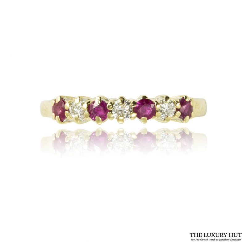 Shop Vintage 2mm 18ct Yellow Gold Ruby & Diamond Ring – Order Online Today For Next Day Delivery