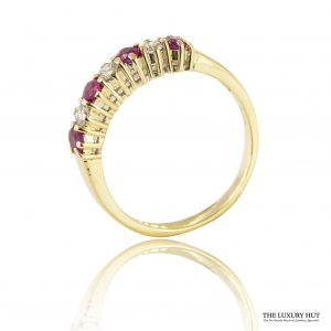 Shop Vintage 2mm 18ct Yellow Gold Ruby & Diamond Ring – Order Online Today For Next Day