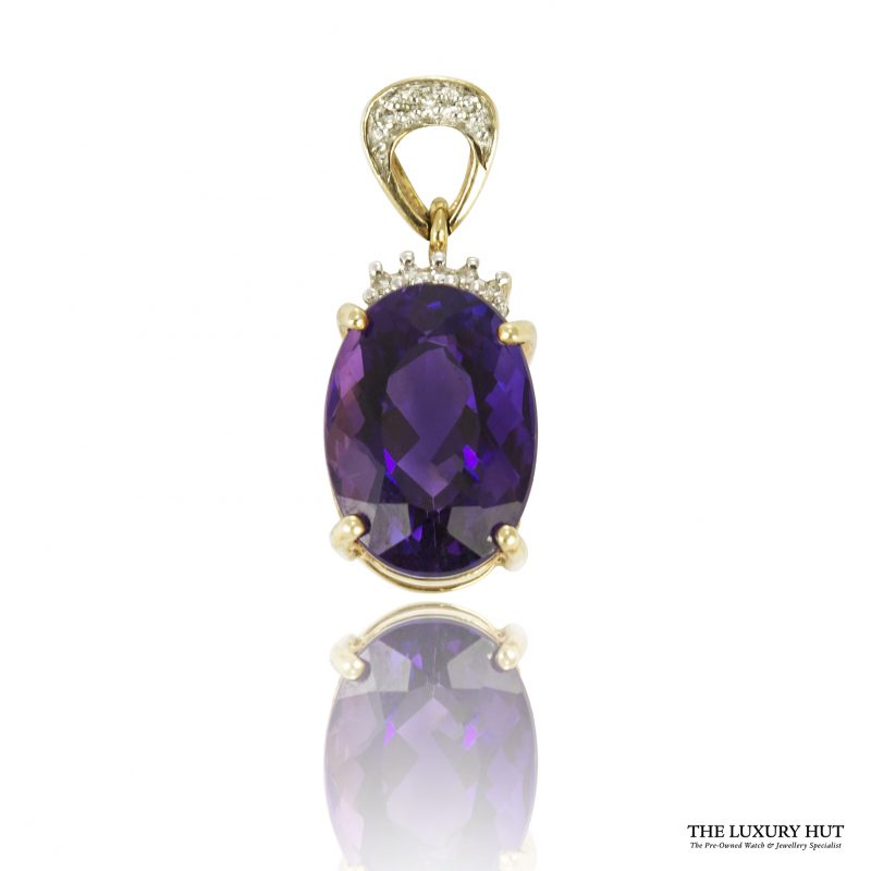 Shop 9ct Yellow Gold Amethyst & Diamond Pendant - Order Online Today For Next Day Delivery