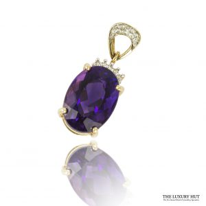 Shop 9ct Yellow Gold Amethyst & Diamond Pendant - Order Online Today For Next Day