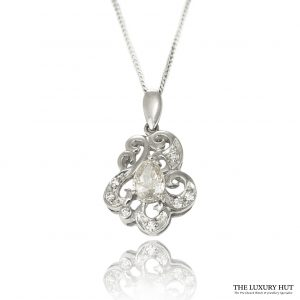 Shop 18ct White Gold 0.85ct Pear Shape Diamond Pendant - Order Online Today For Next Day Delivery