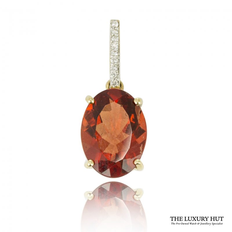 Shop 18ct Gold Red Synthetic Quartz & Diamond Pendant - Order Online Today For Next Day Delivery