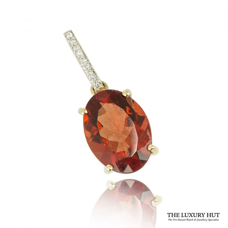Shop 18ct Gold Red Synthetic Quartz & Diamond Pendant - Order Online Today For Next Day