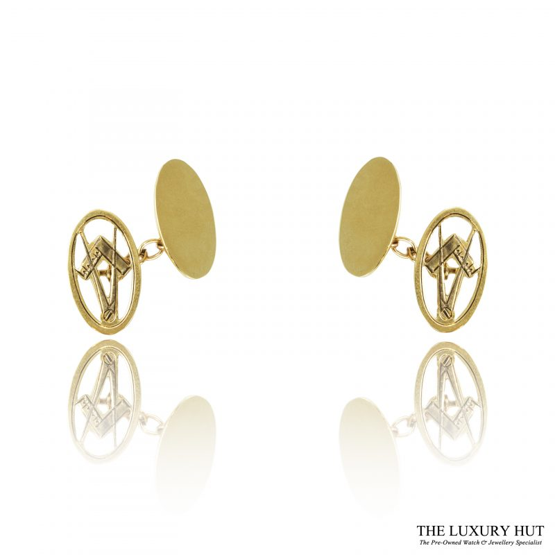 Shop 9ct Yellow Gold Masonic Chain Link Cufflinks - Order Online Today For Next Day