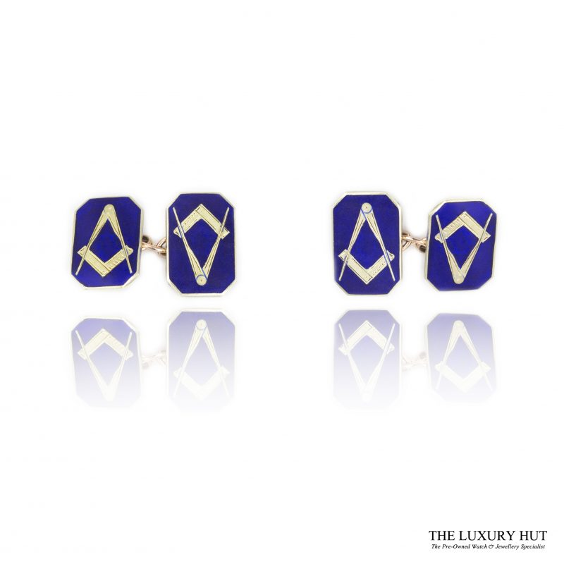 9ct Yellow Gold & Blue Enamel Masonic Chain Link Cufflinks - Order Online Today For Next Day Delivery