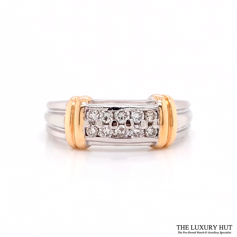 Shop 14ct White & Yellow Gold 0.30ct Diamond Band Ring - Order Online Today For Next Day Delivery
