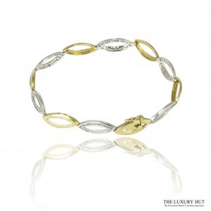 9ct White & Yellow Gold 0.78ct Diamond Oval link Bracelet - Order Online Today For Next Day Delivery