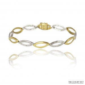 9ct White & Yellow Gold 0.78ct Diamond Oval link Bracelet - Order Online Today For Next Day