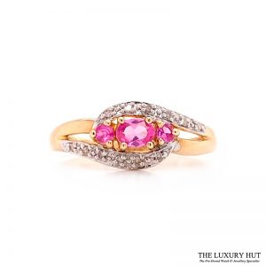 Shop 9ct Yellow Gold Pink Sapphire & Diamond Cluster Ring - Order Online Today For Next Day Delivery