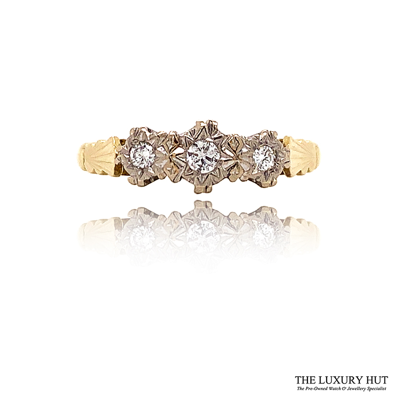 Shop 18ct White & Yellow Gold 0.12ct Diamond Trilogy Ring - Order Online Today For Next Day Delivery