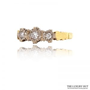 Shop 18ct White & Yellow Gold 0.12ct Diamond Trilogy Ring - Order Online Today For Next Day