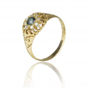 Shop 18ct Yellow Gold Sapphire & Diamond Cluster Ring - Order Online Today For Next Day
