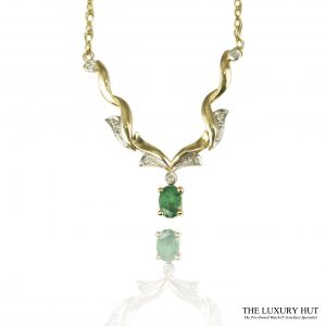 Shop 9ct Yellow Gold Emerald & Diamond Necklet - Order Online Today For Next Day Delivery
