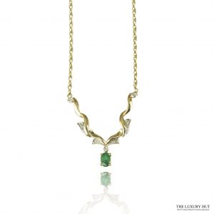 Shop 9ct Yellow Gold Emerald & Diamond Necklet - Order Online Today For Next Day
