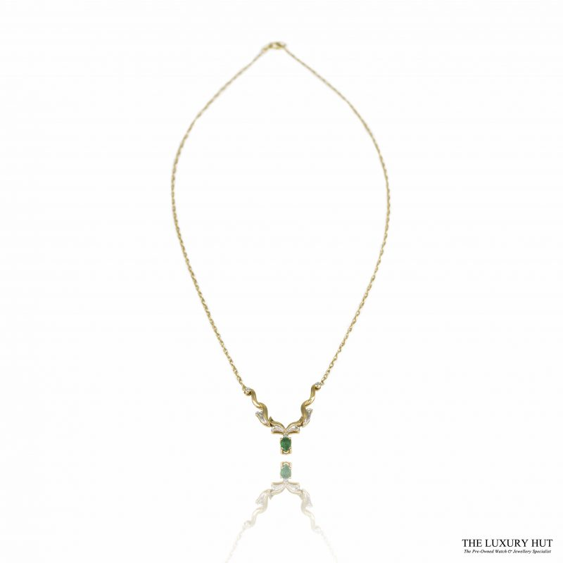 Shop 9ct Yellow Gold Emerald & Diamond Necklet - Order Online Today