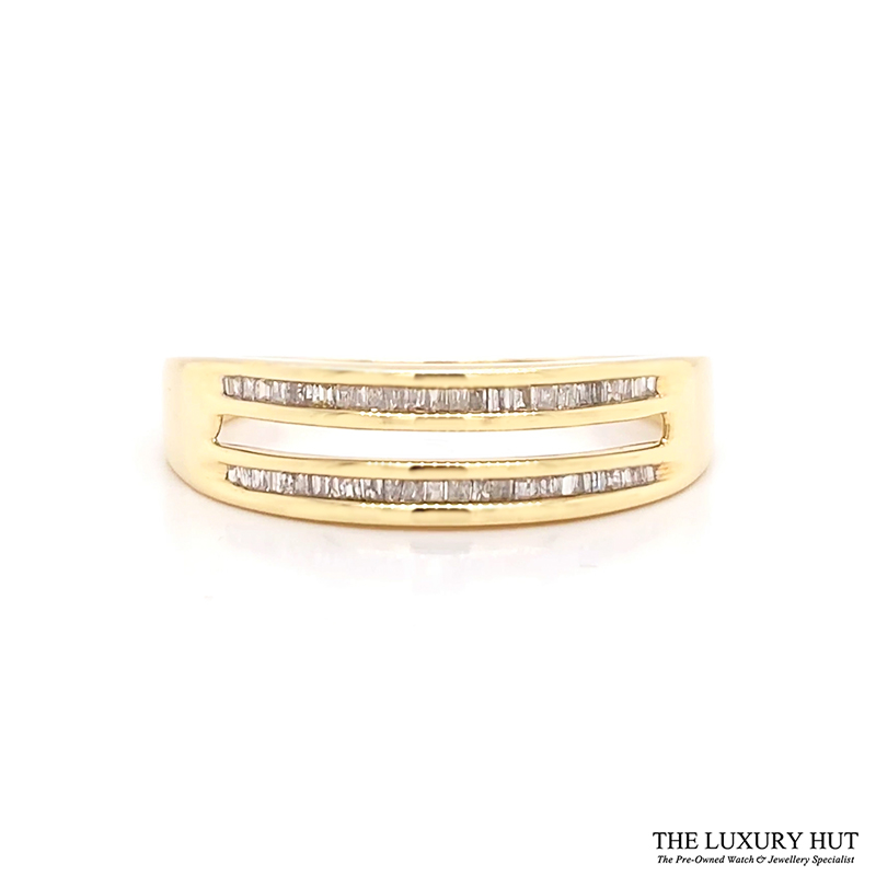 9ct Yellow Gold 0.20ct Diamond Twin Row Band Ring Order Online Today For Next Day Delivery