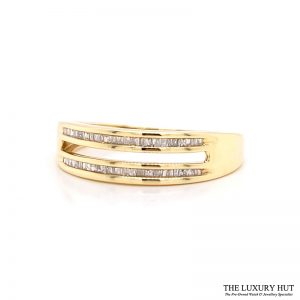 9ct Yellow Gold 0.20ct Diamond Twin Row Band Ring Order Online Today For Next Day