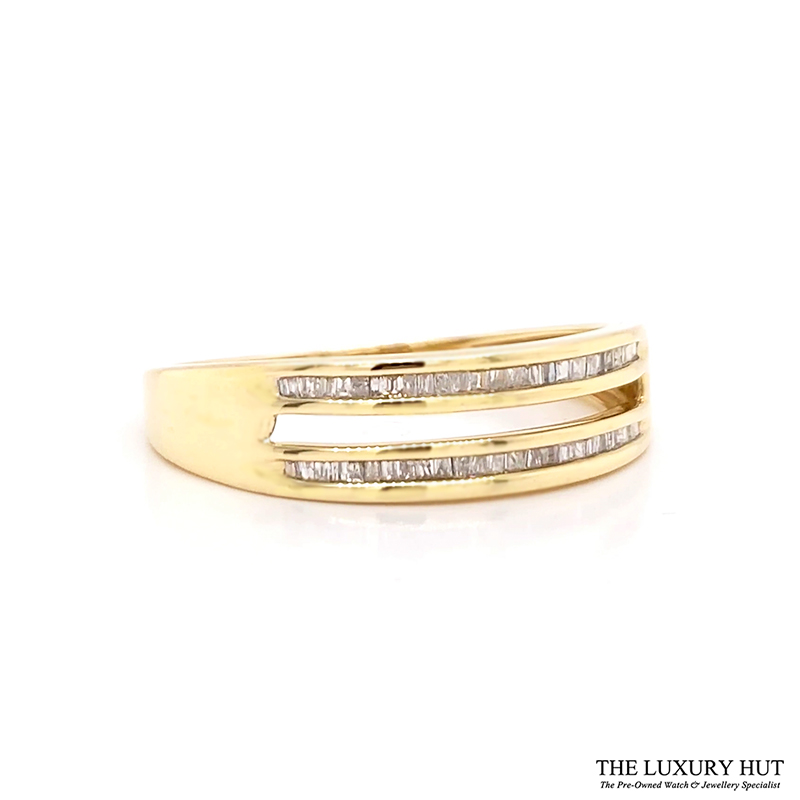 9ct Yellow Gold 0.20ct Diamond Twin Row Band Ring
