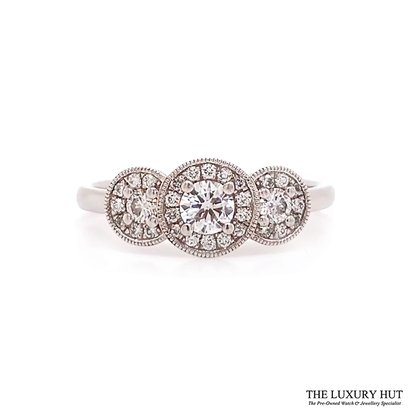 Shop Platinum 0.49ct Certified Diamond Trilogy Cluster Ring - Order Online Today For Next Day