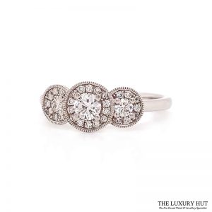 Shop Platinum 0.49ct Certified Diamond Trilogy Cluster Ring - Order Online Today