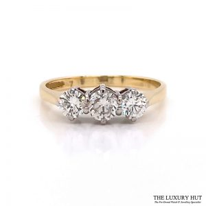 Shop 18ct White & Yellow Gold 0.65ct Diamond Trilogy Ring - Order Online Today For Next Day Delivery