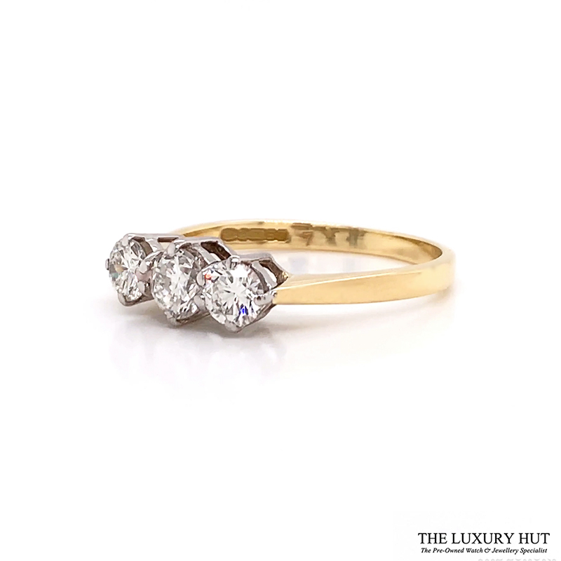 Shop 18ct White & Yellow Gold 0.65ct Diamond Trilogy Ring - Order Online Today For Next Day