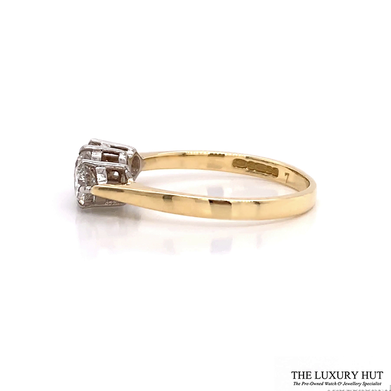 Shop 18ct White & Yellow Gold 0.65ct Diamond Trilogy Ring - Order Online