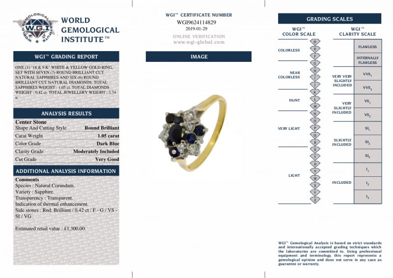 Shop 18ct & 9ct Sapphire & Diamond Cluster Ring -