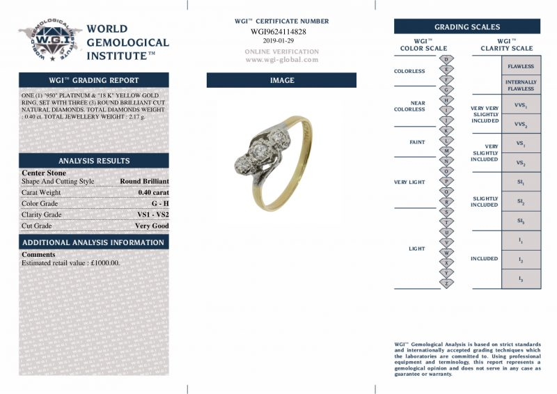 Shop 18ct Gold & Platinum 0.40ct Diamond Trilogy Ring - Order Online Today Delivery