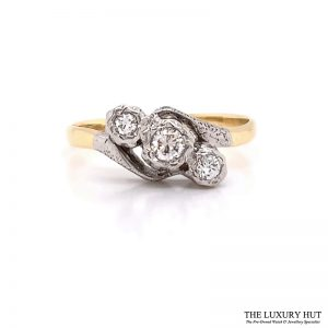 Shop 18ct Gold & Platinum 0.40ct Diamond Trilogy Ring - Order Online Today For Next Day Delivery
