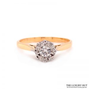 18ct Gold & Platinum 0.20ct Diamond Solitaire Engagement Ring - Order Online Today For Next Day Delivery
