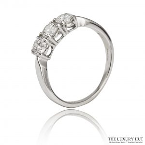 Shop 18ct White Gold 0.75ct Diamond Trilogy Ring - Order Online Today For Next Day