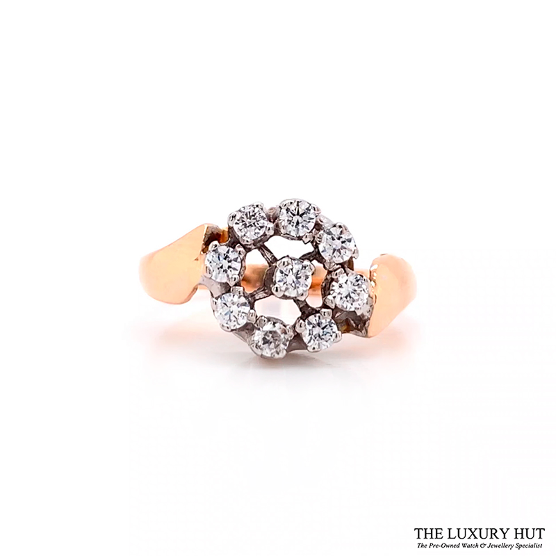 Shop 18ct White & Rose Gold 0.18ct Diamond Cluster Ring - Order Online Today For Next Day Delivery