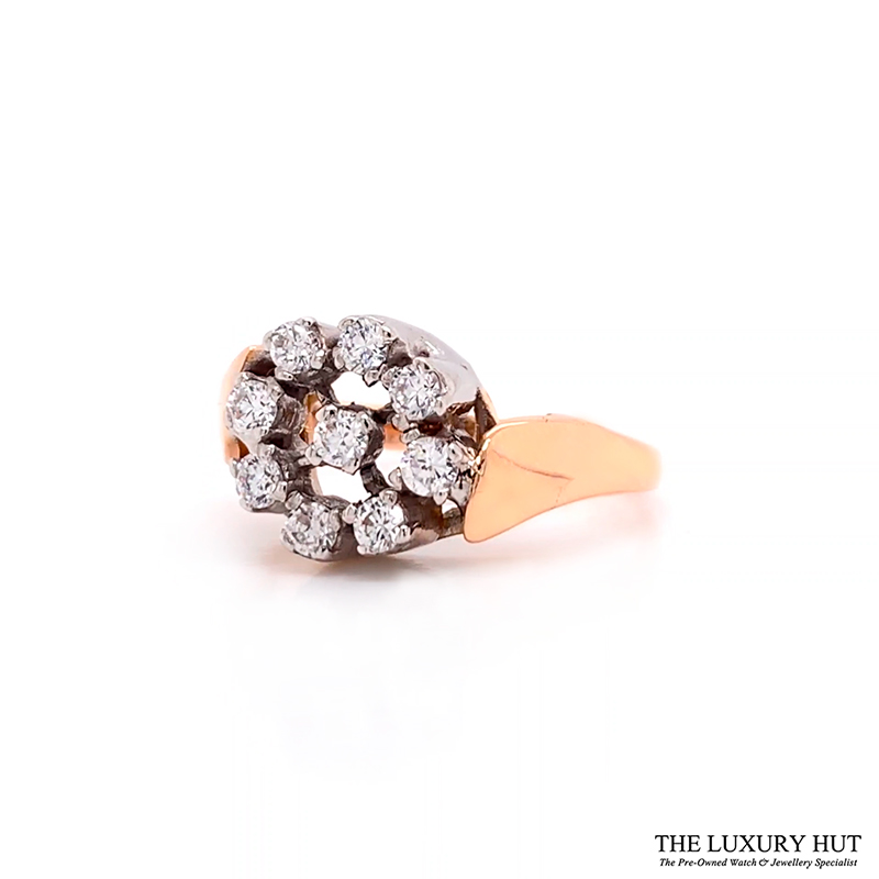 Shop 18ct White & Rose Gold 0.18ct Diamond Cluster Ring - Order Online Today For Next Day