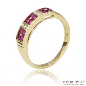 Shop 18ct Yellow Gold Ruby & Diamond Band Ring - Order Online Today For Next Day