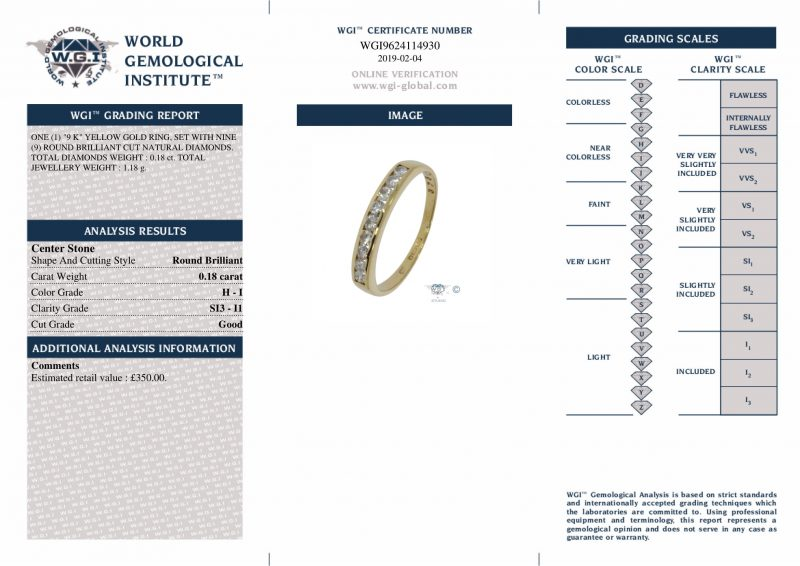 Shop 9ct Yellow Gold 0.18ct Diamond Band Ring - Order Online