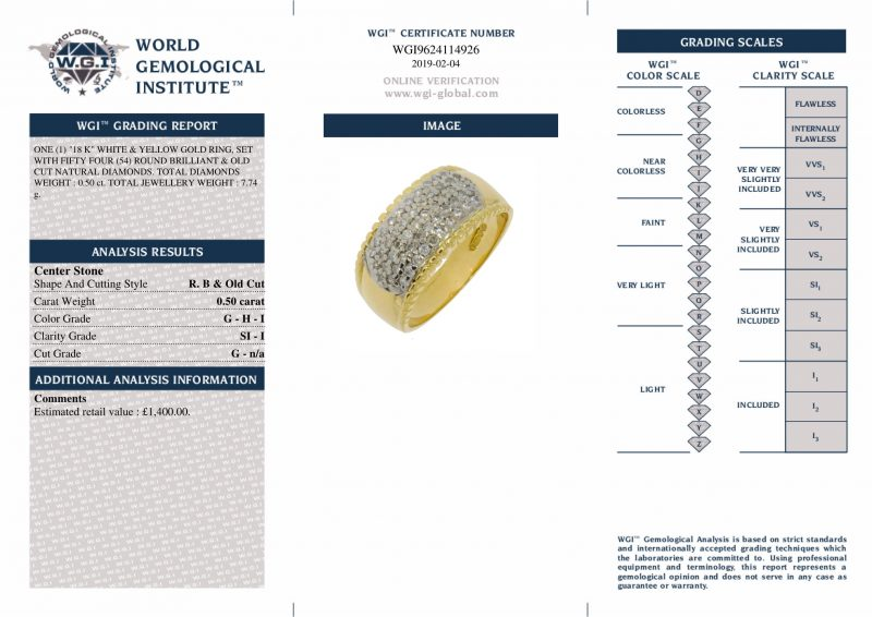 Shop 18ct White & Yellow Gold 0.50ct Diamond Band Ring - Order Online