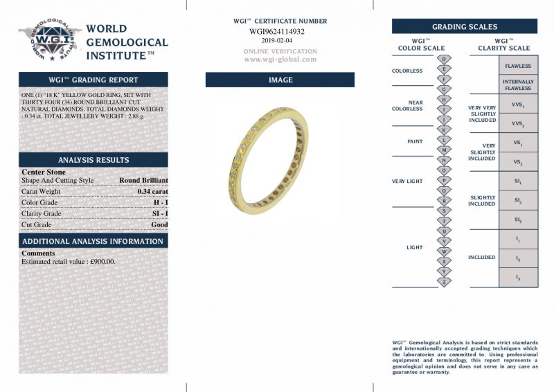 Shop 18ct Yellow Gold 0.34ct Diamond Full Eternity Ring - Order