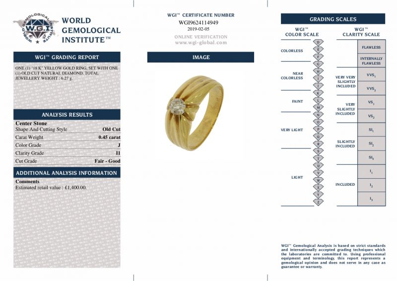 Shop 18ct Yellow Gold Vintage 0.45ct Gents Diamond Ring - Order