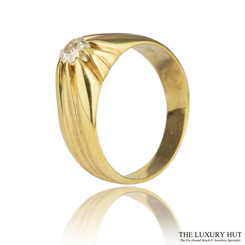 Shop 18ct Yellow Gold Vintage 0.45ct Gents Diamond Ring - Order Online Today For Next Day
