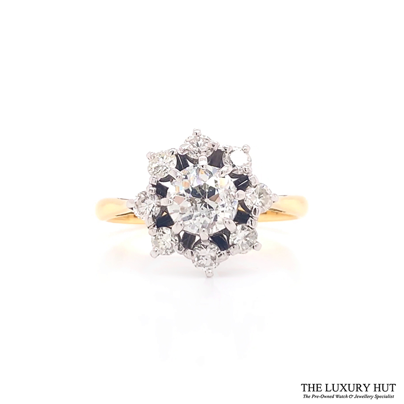 Shop 18ct Gold & Platinum 1.25ct Diamond Cluster Ring - Order Online Today For Next Day Delivery