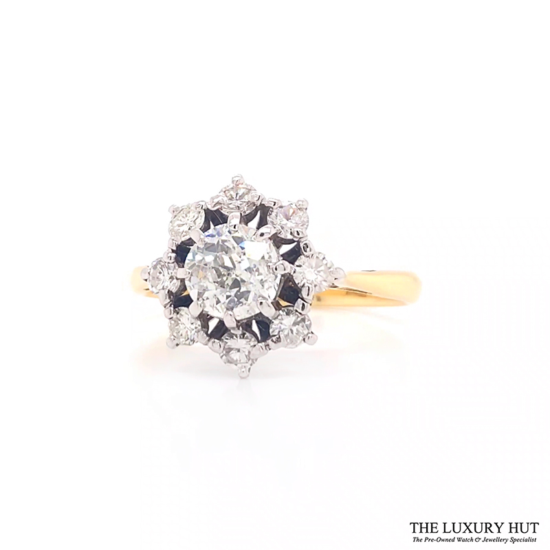 Shop 18ct Gold & Platinum 1.25ct Diamond Cluster Ring - Order Online Today For Next Day