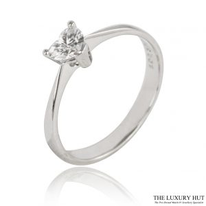 18ct White Gold Heart Shape 0.39ct Diamond Engagement Ring - Order Online Today For Next Day