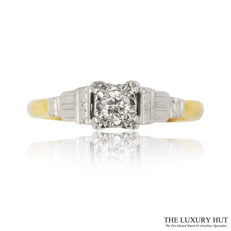 18ct Yellow Gold & Platinum 0.15ct Diamond Solitaire Ring - Order Online Today For Next Day Delivery