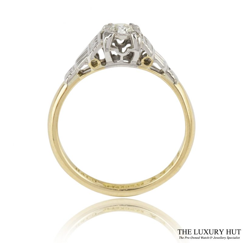 18ct Yellow Gold & Platinum 0.15ct Diamond Solitaire Ring - Order Online
