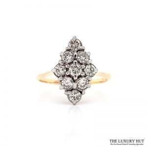 18ct Yellow Gold & Platinum Vintage 1.00ct Diamond Ring - Order Online Today For Next Day Delivery